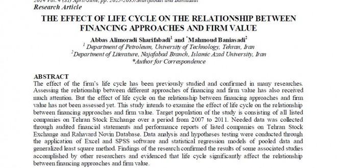 مقاله ISI تأثیر چرخه عمر بر رابطه بین تأمین مالی و ارزش شرکت