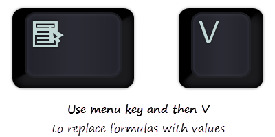 How to replace formulas with values in Excel?