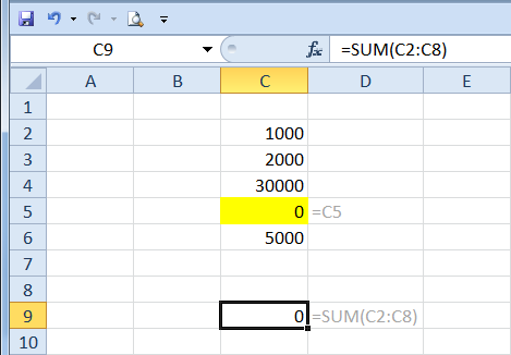 excel how to avoid circular reference